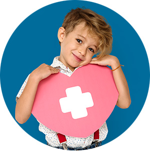 Kid holding heart with medical symbol
